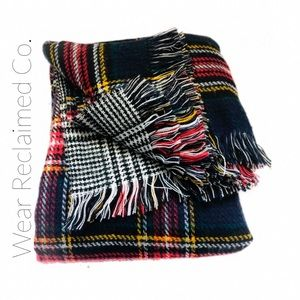 Reversible Plaid Soft Blanket Scarf  | Lar…